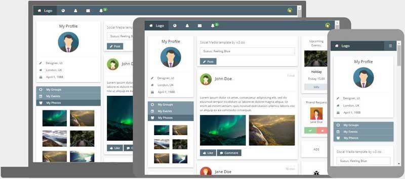 W3 Css Templates Css Templates Web Design Templates Free Web Template Design Social media web templates