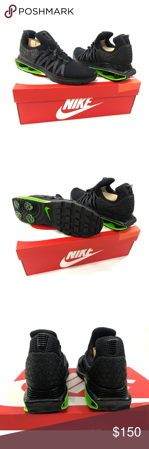 Nike Shox Gravity Luxe Mens Training Running Shoes NIKE AR1470-003 Nike  Shox Gravity Luxe Men s running shoes Size 9   9.5 Black   Green Strike Mid  top New ... 007852caf