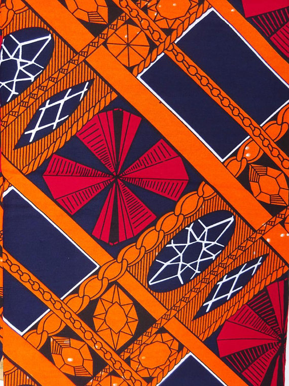 Orange African print Fabric, African fabric by the yard, Wax print