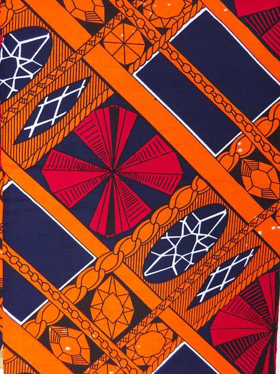 Orange Print Ankara Fabric African Clothing African FabricAfrican Fabric by yardAfrican Print Ankara Fabric