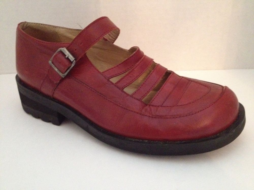 Giraudon Shoes 36 1/2 Womens US Size 6 6 1/2 Red Leather Mary Janes