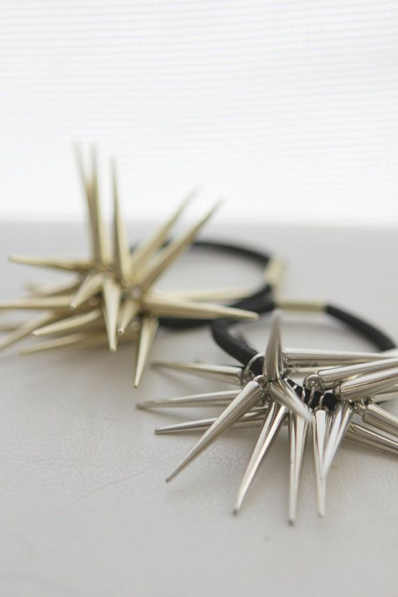 Spikey Spike Hair Tie in gold or silver finish by onceuponaCHO