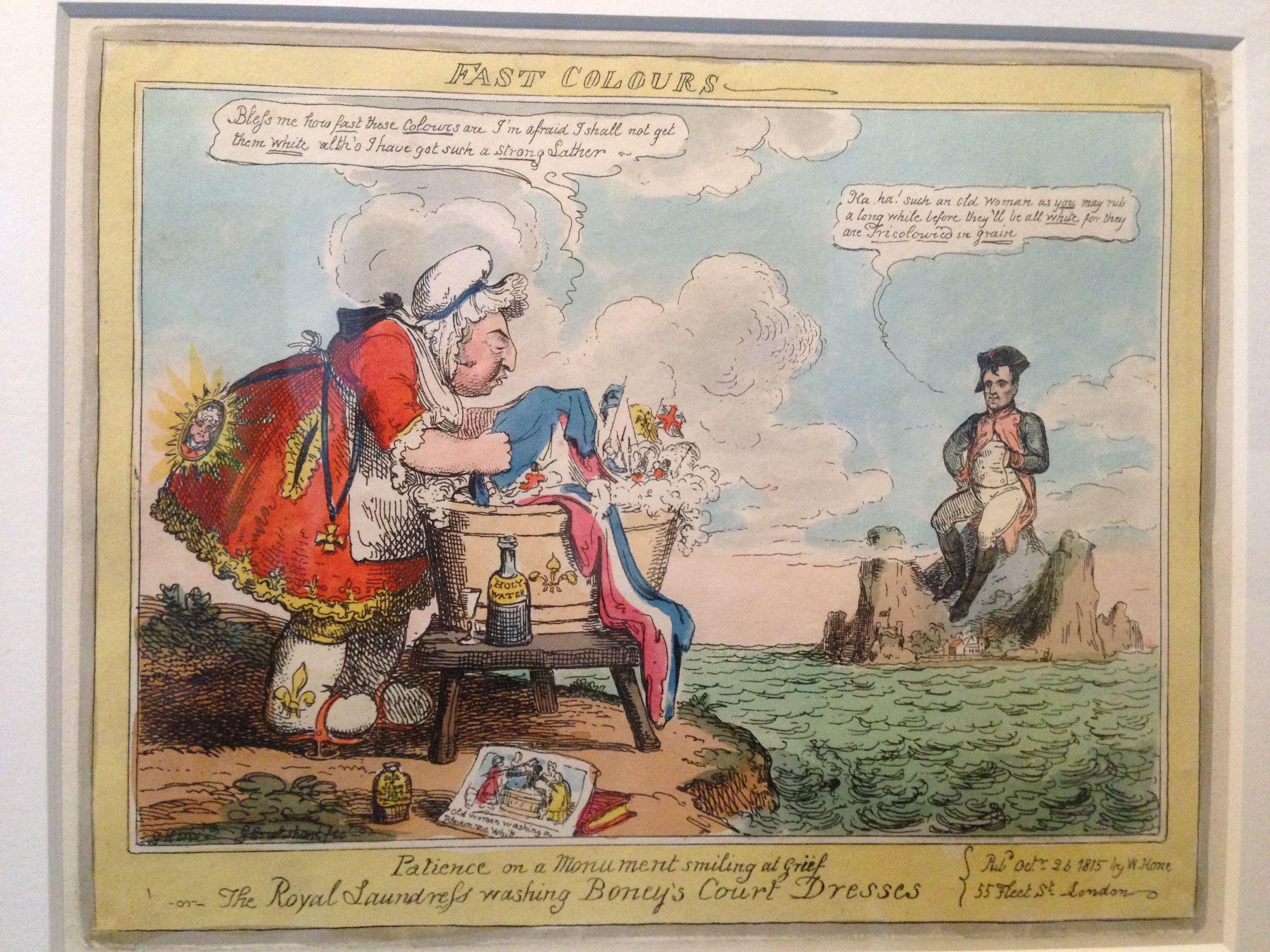 Caricature anglaise, Louis XVIII vêtu en lavandière et ...