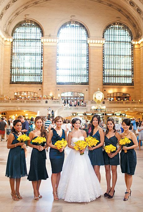 Blue Teal Real Bridesmaids Glamorous Modern Traditional New York City Wedding Downtown At Grand Central Station