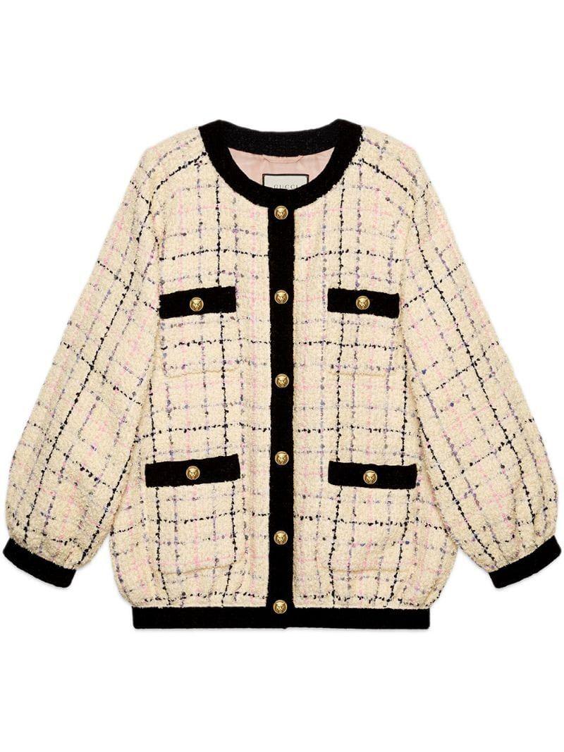 Gucci Oversize Tweed Bomber Jacket Farfetch Bomber Jacket Fashion Jackets Jackets For Women [ 1067 x 800 Pixel ]