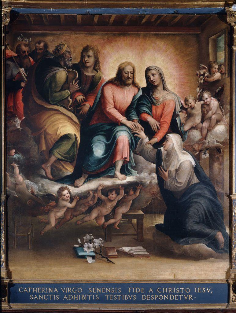 Bartolomeo Neroni, detto il Riccio, e Arcangelo Salimbeni - Nozze mistiche di Santa Caterina - 1578 - Siena (Italia) - Santuario Casa di Santa Caterina da Siena - Oratorio della Cucina