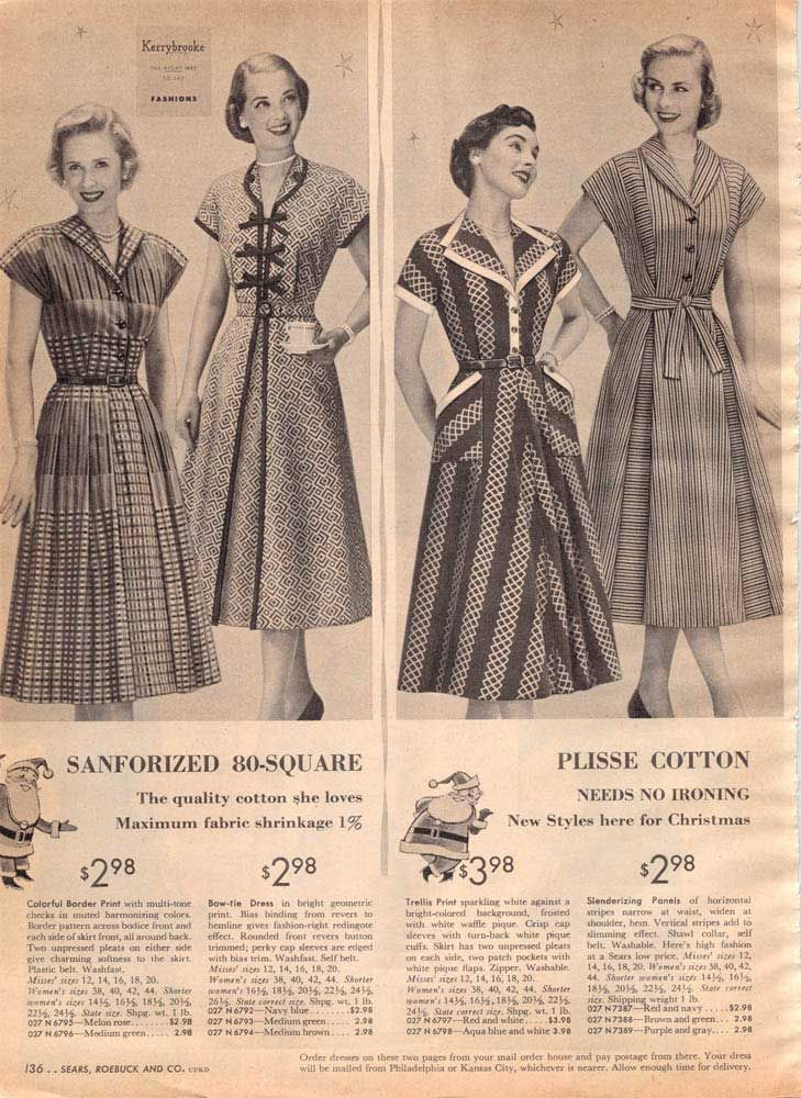 Vintage Women's Dresses from a 1952 Sears catalog | 1950s: Women's ...