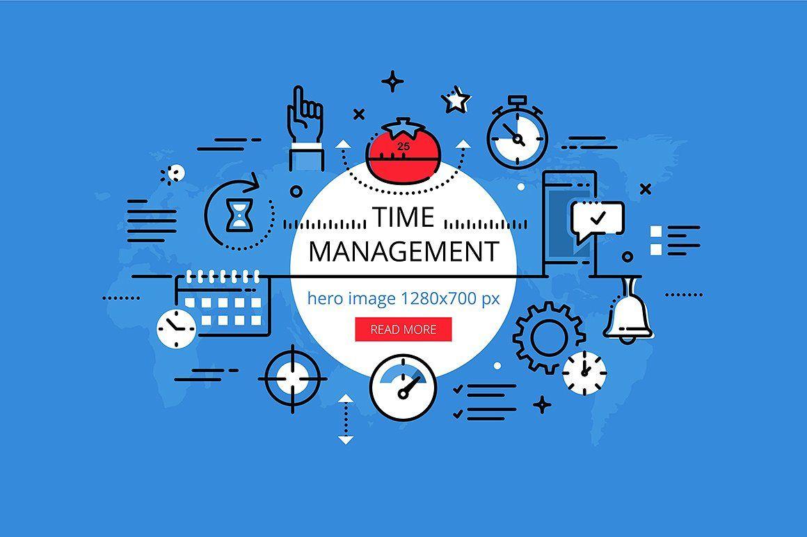 Time Management Hero Banners Set Time Management Banner Vector Banner Design