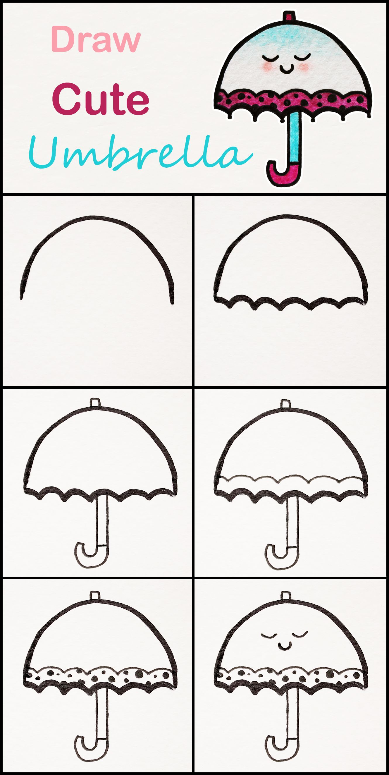 Learn How To Draw A Cute Umbrella Step By Step Very Simple Tutorial Umbrella Drawings Kawaii Tutorial Cute Easy Drawings Easy Drawings Cute Umbrellas