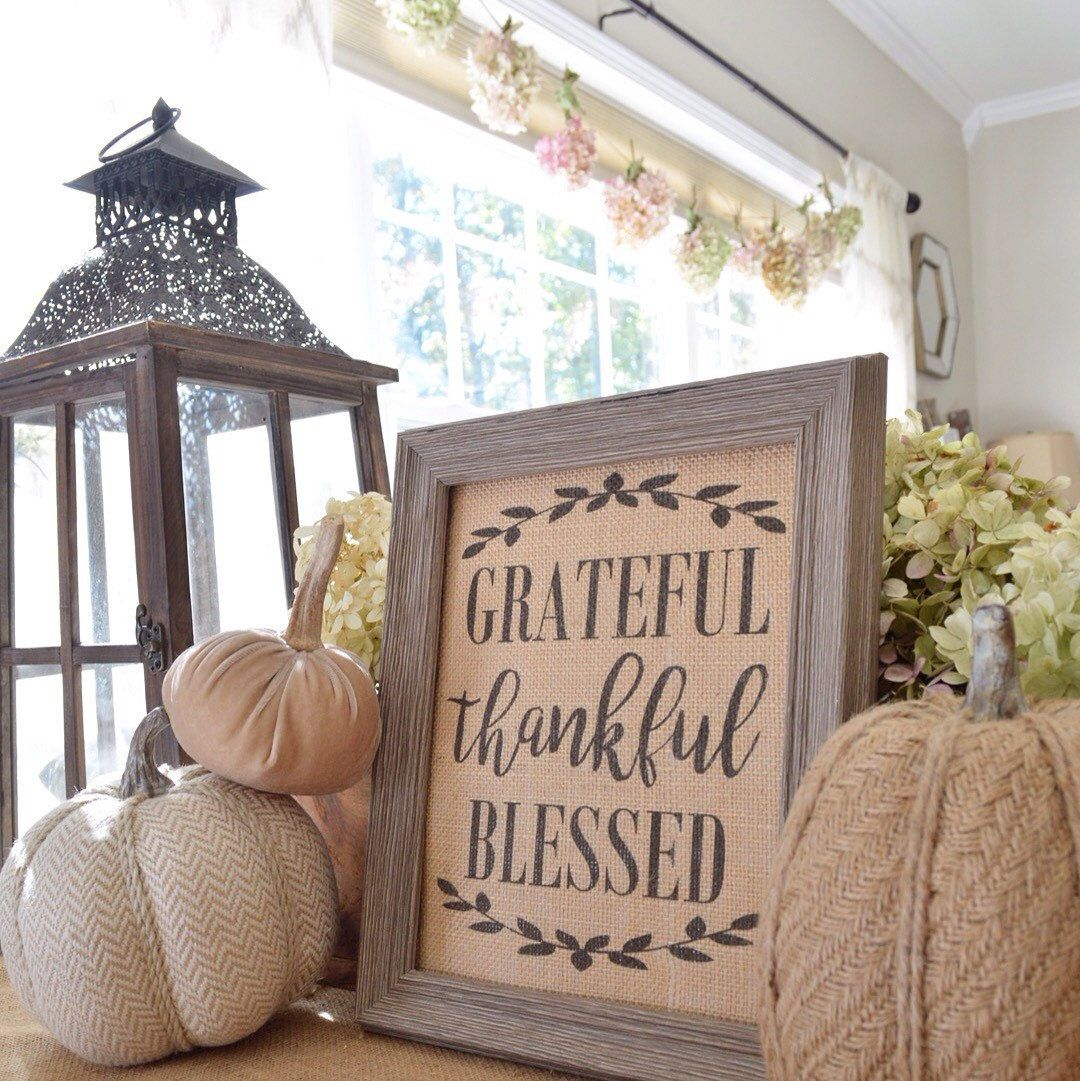 Burlap Decor Burlap Print Grateful Thankful Blessed Wall Decor Rustic And