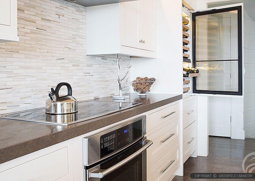 Brown Quartz Kitchen Countertop White Kitchen Cabinets Modern Marble Subway  Backsplash Tile From Backsplash.com Part 46