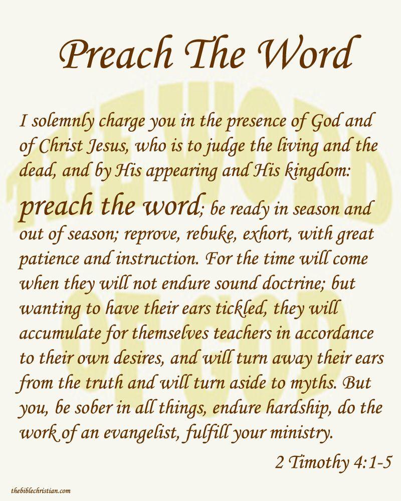Preach The Word Of God Bible Promises Words Hear God
