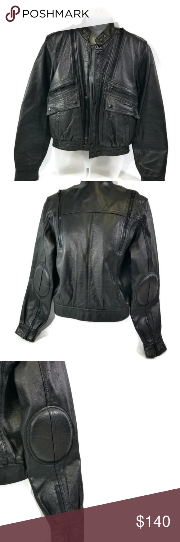 Vtg Wilsons Leather Black Biker Motorcycle Jacket