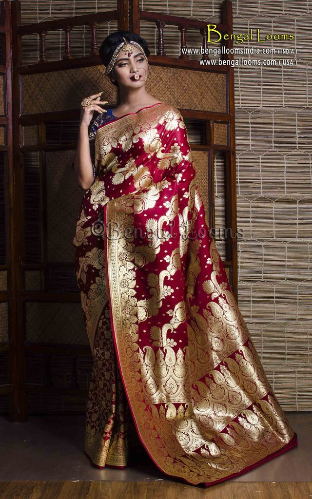 fc85b71fef Art Silk Bridal Banarasi Saree in Maroon and Gold | Saree | Saree ...
