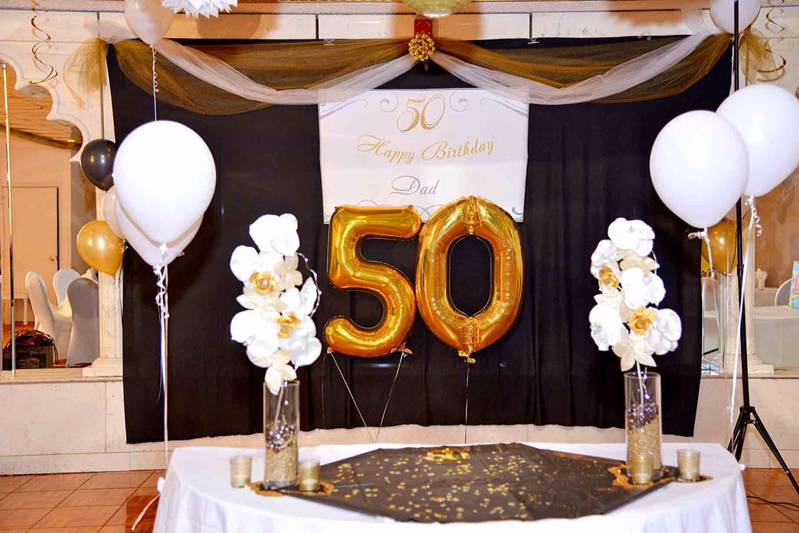 Center Table Decoration Of 50th Birthday For Dad Center Table Decor Party Table Decorations 50th Birthday