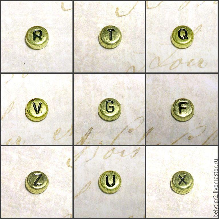 """Купить бусины """"Алфавит"""", 7 мм, акрил, цвет золото / черный, 1 шт"""