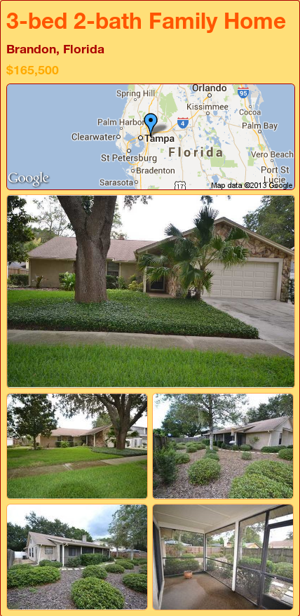 3-bed 2-bath Family Home in Brandon, Florida ►$165,500 #PropertyForSale #RealEstate #Florida http://florida-magic.com/properties/19801-family-home-for-sale-in-brandon-florida-with-3-bedroom-2-bathroom