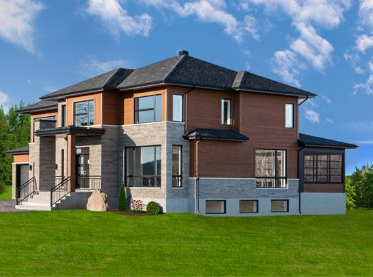 Maibec modern cut boards in algonquin amber 052 home for Modern house quebec