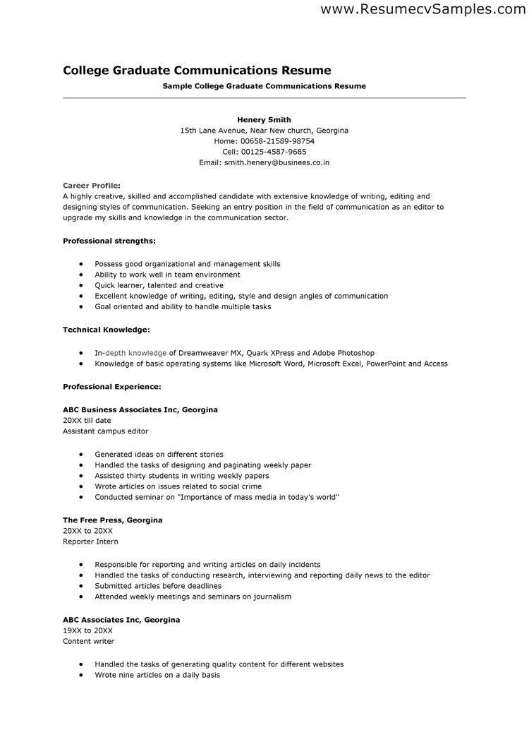 Resume For Colleges