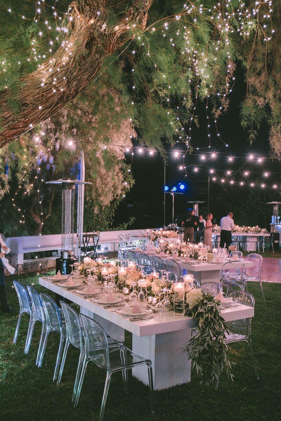 Glam Garden Wedding With A White And Copper Modern Twist Bistro Lights Wedding Wedding Lights Garden Wedding Reception