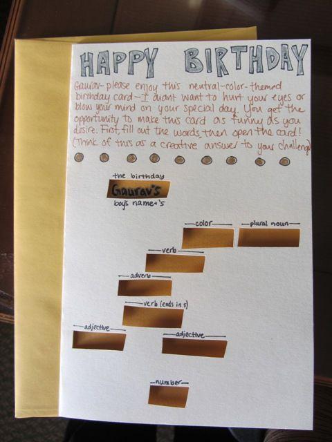 Mad Libs Fill In The Blank Handmade Birthday Card By Chrystina Noel