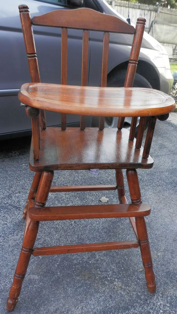 Childs Wooden High Chair W Tray Solid