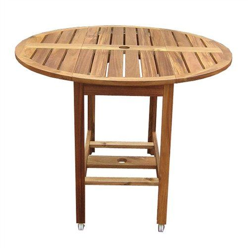 Kiln Dried Hardwood 39 Inch Folding Patio Dining Table With Wheels