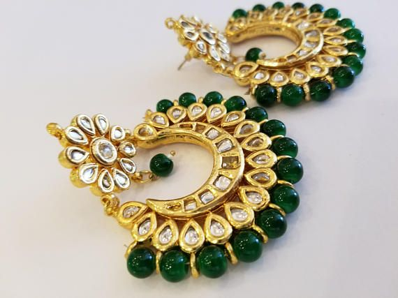 Gold Plated Bead and Stone Fashion Earrings for Pa