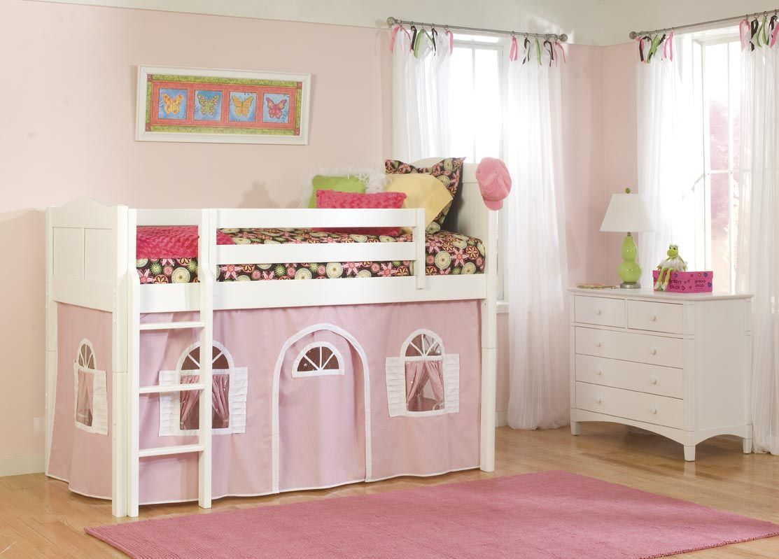 Beautiful Bunk Beds Girls | ... -Girls-Low-Loft-with & Beautiful Bunk Beds Girls | ... -Girls-Low-Loft-with-Optional-Tent ...