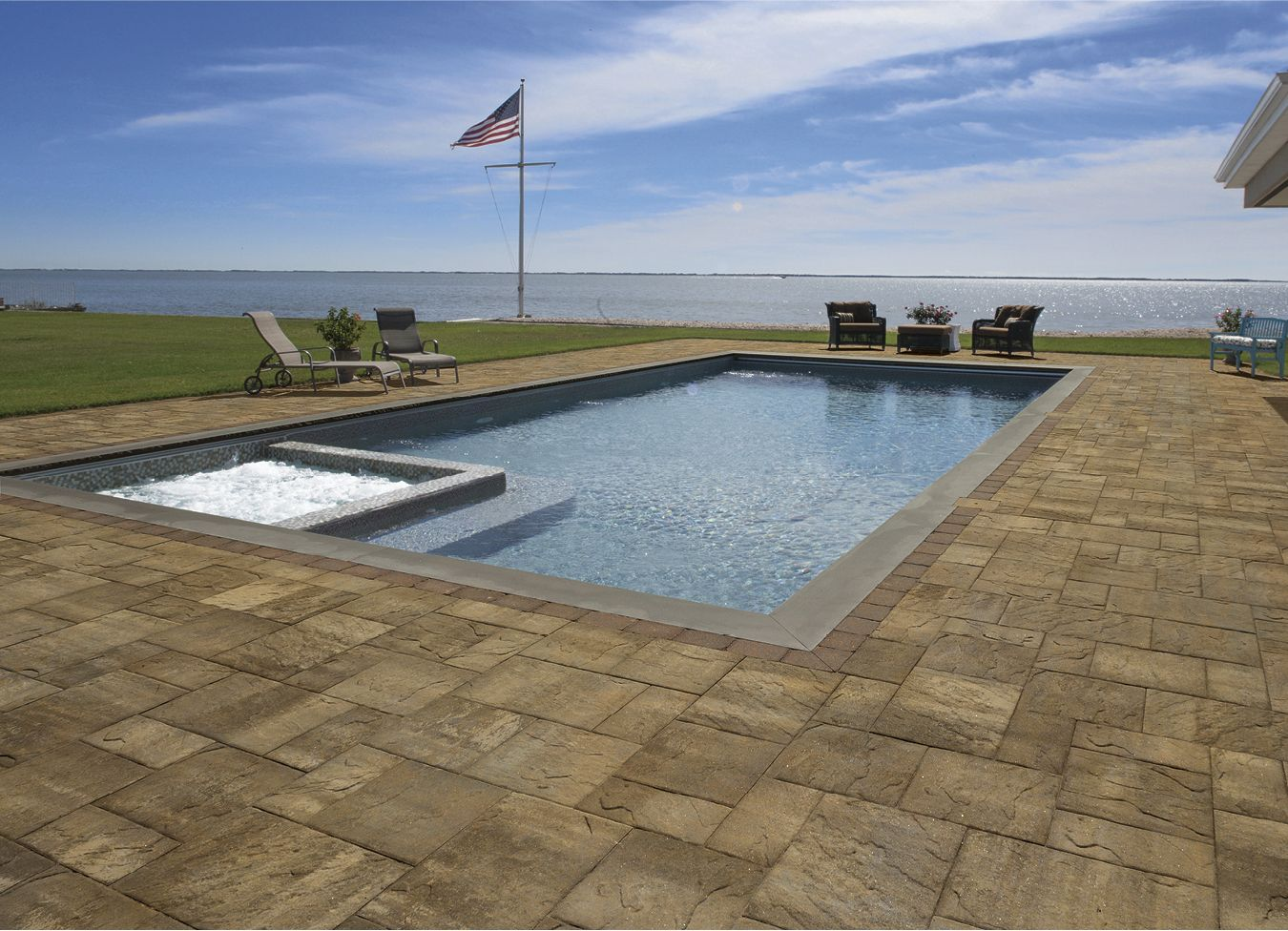 Cambridge pavingstones wall systems color options - Pool Patio Featuring Cambridge Pavingstones With Armortec S Sherwood Collection
