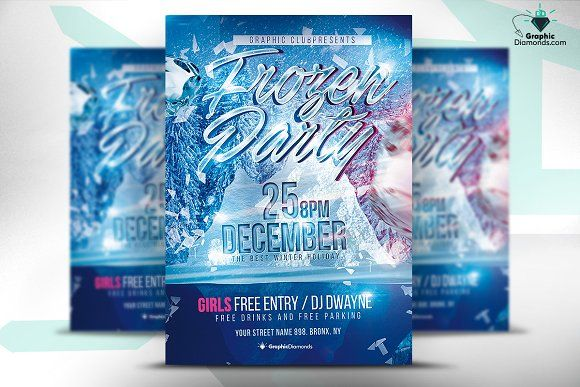 Frozen Party Flyer Psd By Graphicdiamonds On Creativemarket Bnro