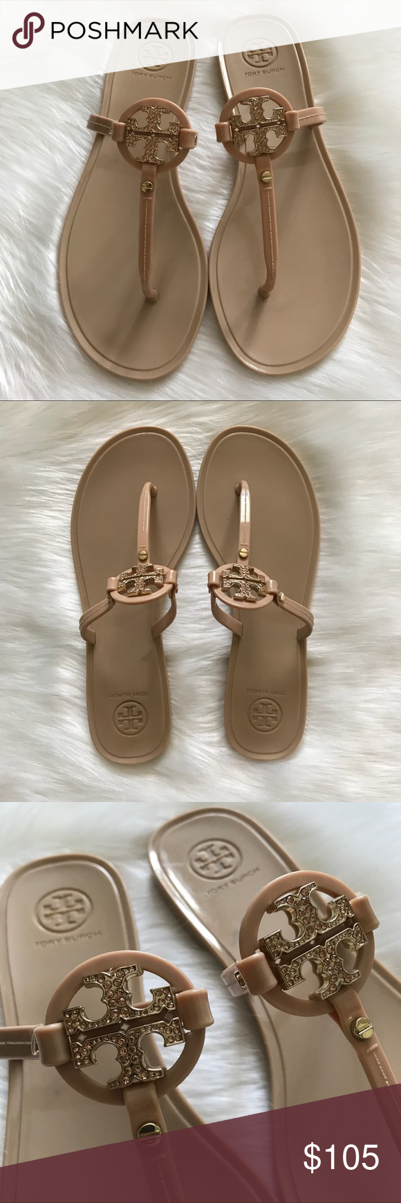 f1b98cfac2290a TORY BURCH Mini Miller Crystal Flat Thong Sandal Authentic Mini Miller Flat  Thong Sandal Blush.