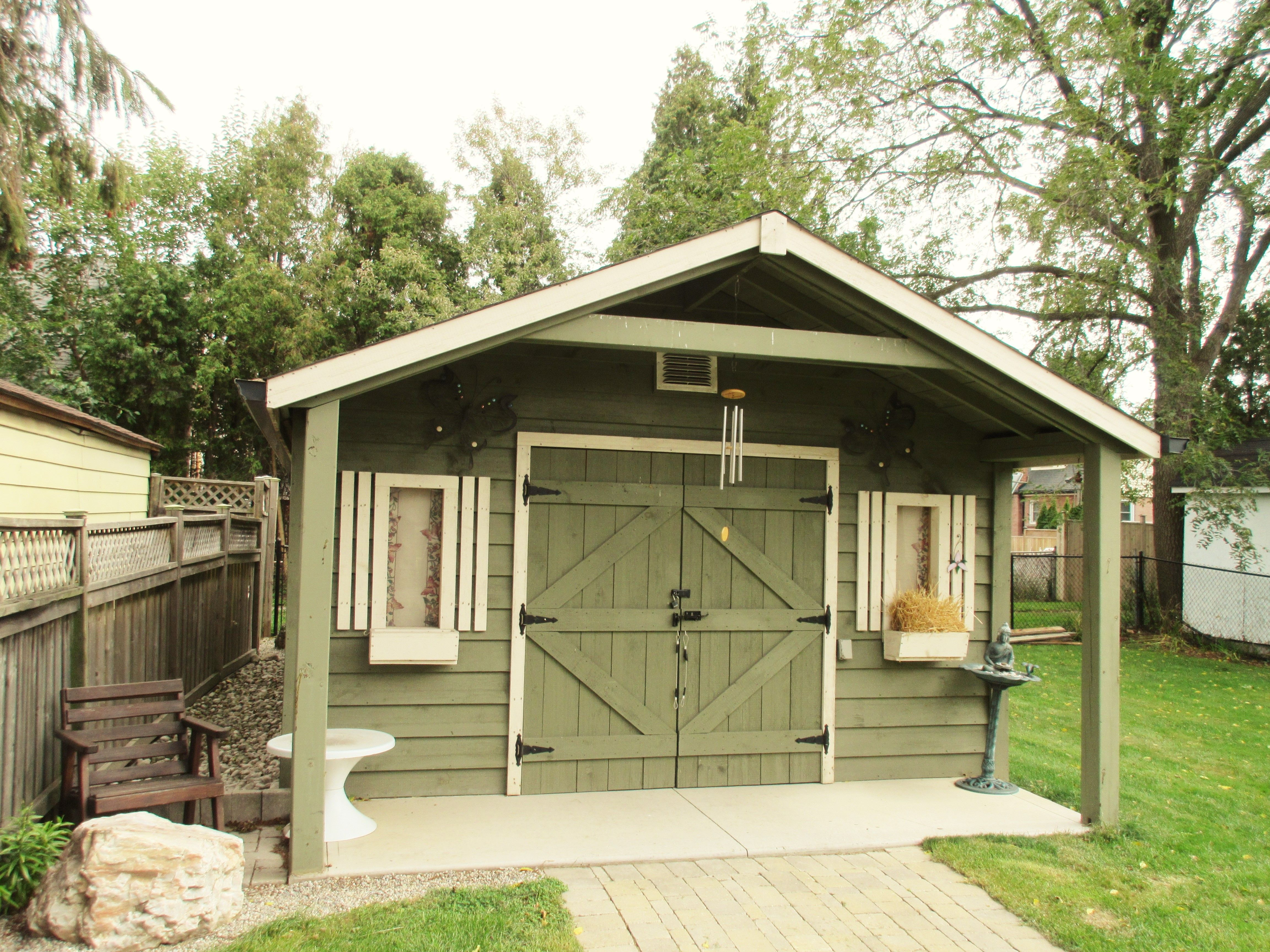 classic 16x24 with 4 foot gable porch nice addition to backyard