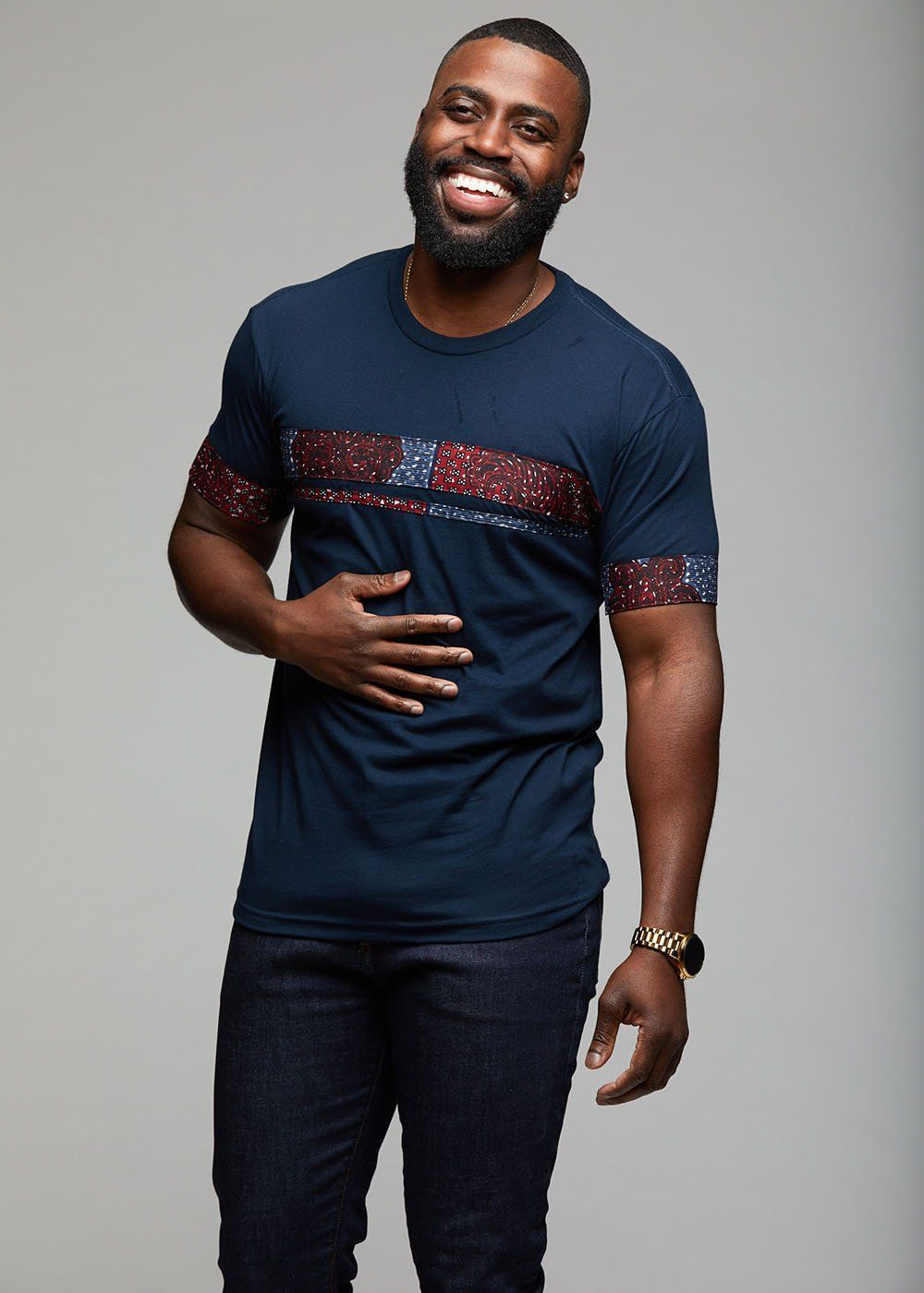 Jaheem african print short sleeve tshirt redblue