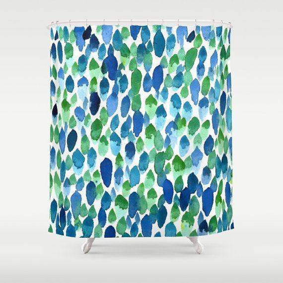 Blue Green Shower Curtain Clean Rain By Artfullyfeathered Green
