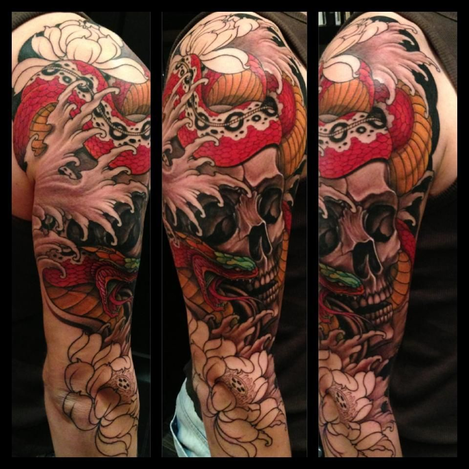 First 8 hours down sleeve by chris crooks white dragon for Tattoo cost per hour