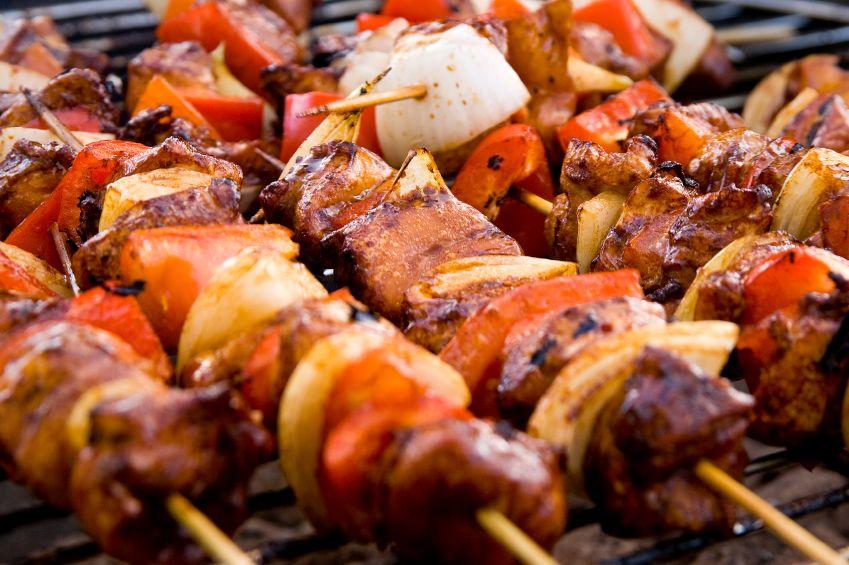 barbecued kebabs