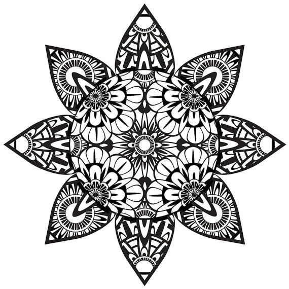 Coloring Page Zentangle Flower Printable Coloring Page Instant