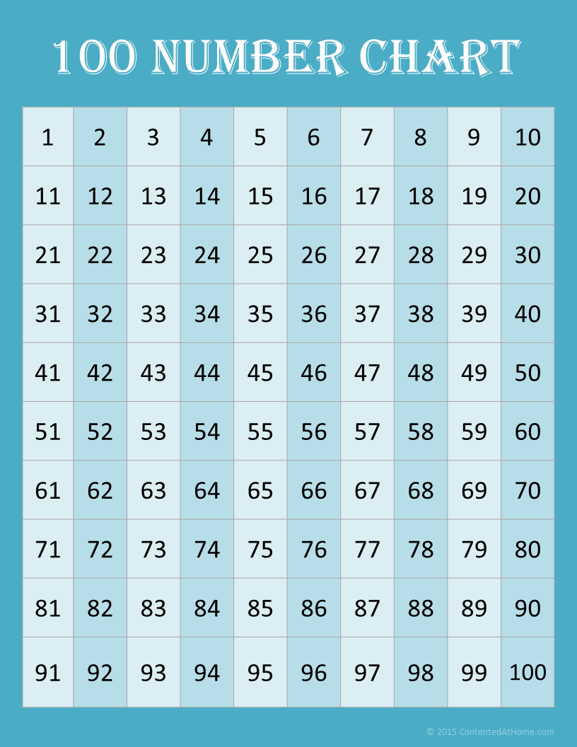 Free Math Printables: 100 Number Charts | 100 number chart, Number ...