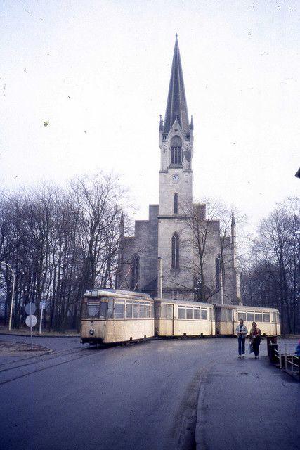 Straßenbahn Schöneiche. REKO Tramcar nr 85 at Rüdersdorf Kalkberge Kirche,DDR.  Jan 1990 by sludgegulper, via Flickr