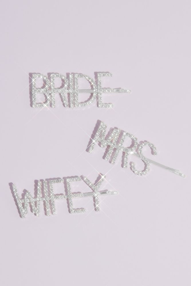 On-trend yet timeless, this barrette set shows off the bride-to-be's new status in sparkling crystals. Rhodium, crystal 1
