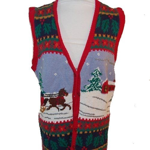 One Horse Open Sleigh Sweater Vest