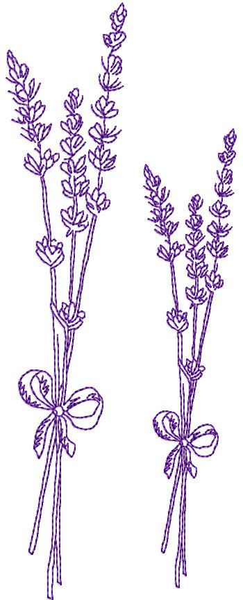 Redwork Lavender Machine Embroidery Designs Set For By Aeonetsy