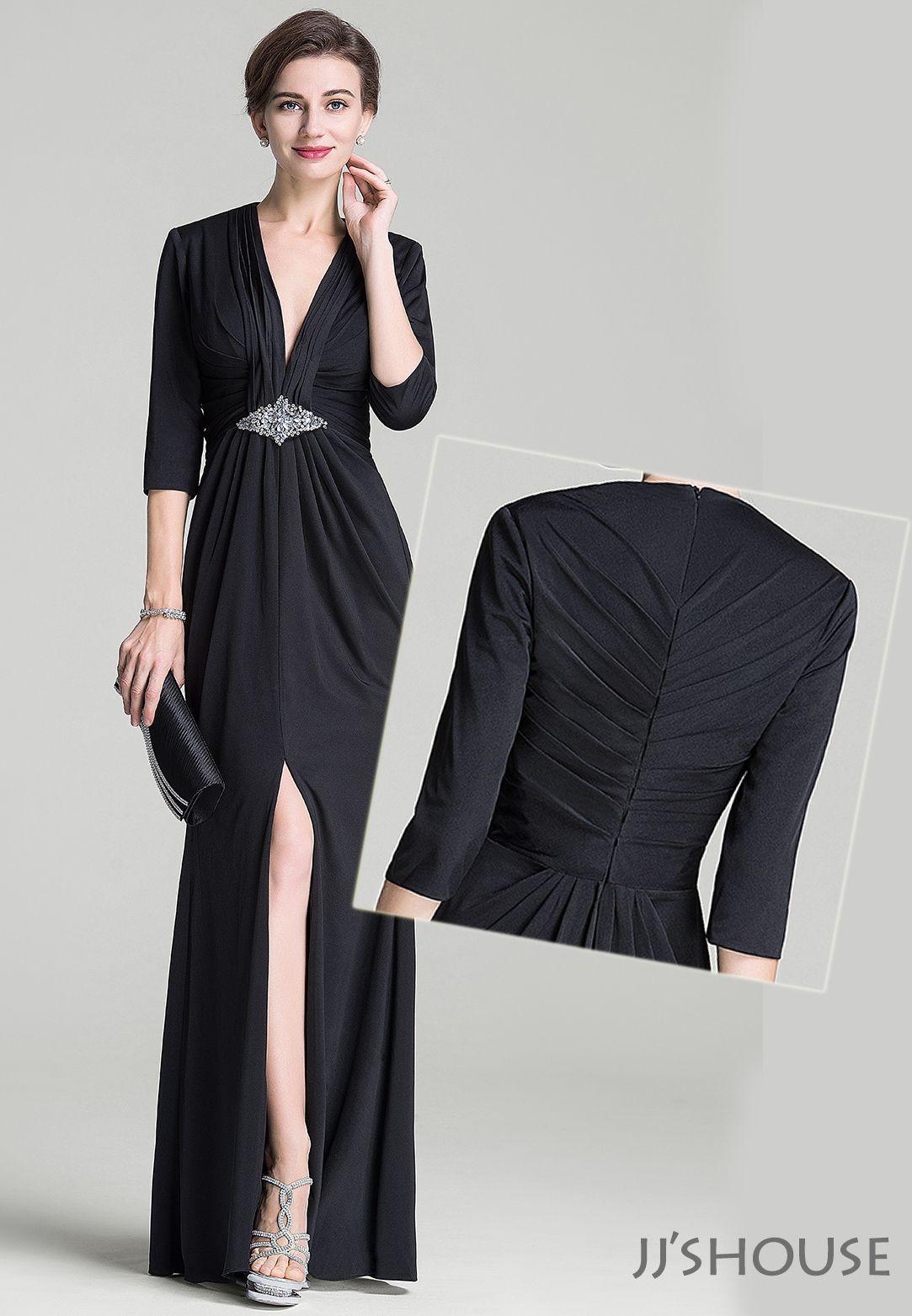 Sheathcolumn vneck floorlength jersey mother of the bride dress