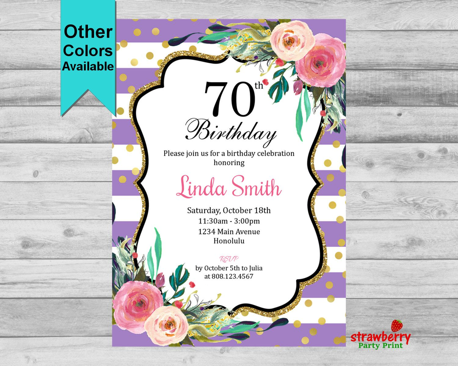 70th Birthday Invitation. Cheers to 70 Years. Floral Birthday ...