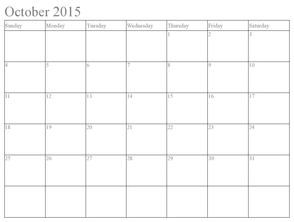 October  Calendar Template Word  Notice Boards