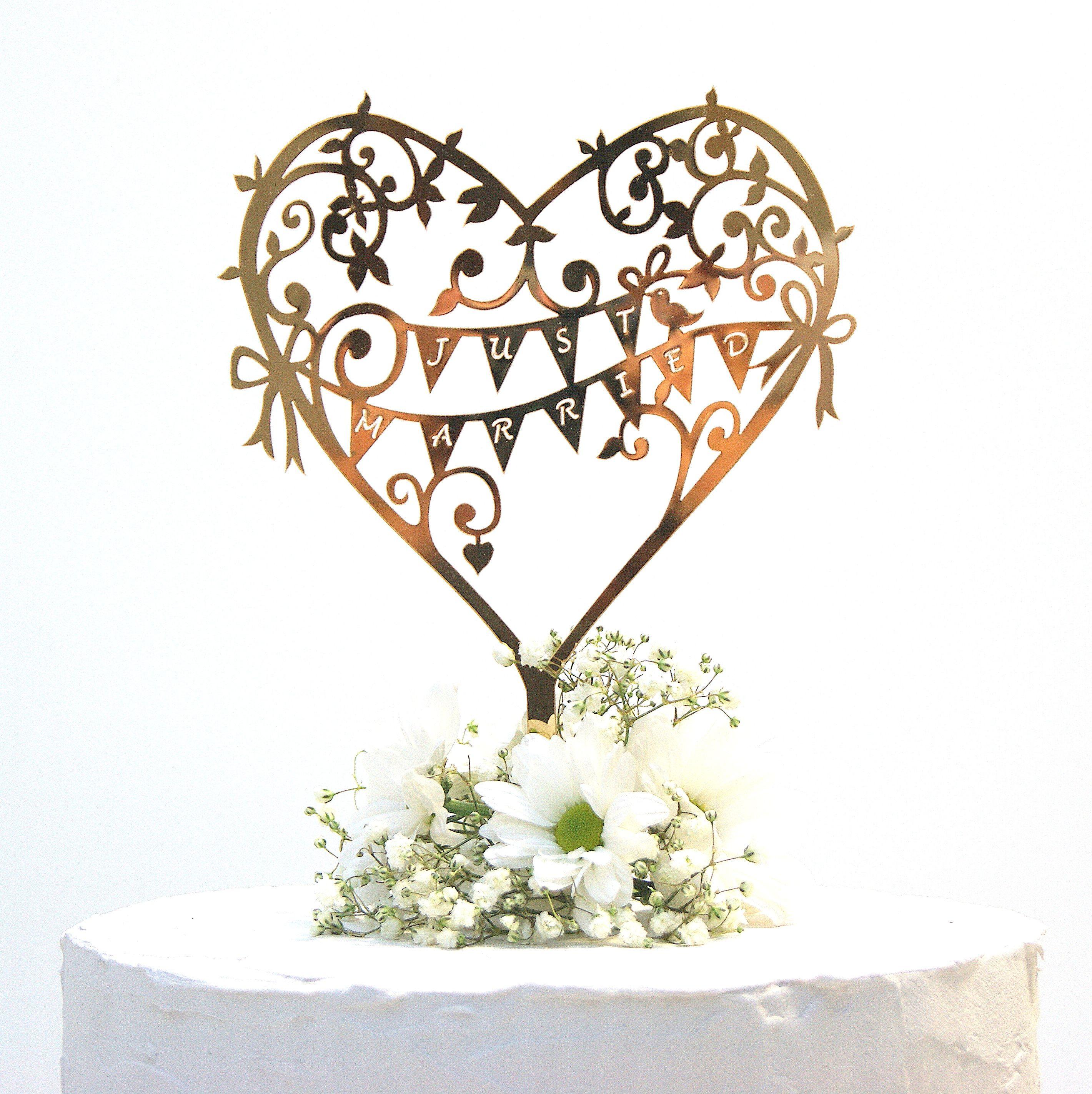 Wedding Cake Topper Rose Gold Mirror Garden Party | Wedding cake and ...