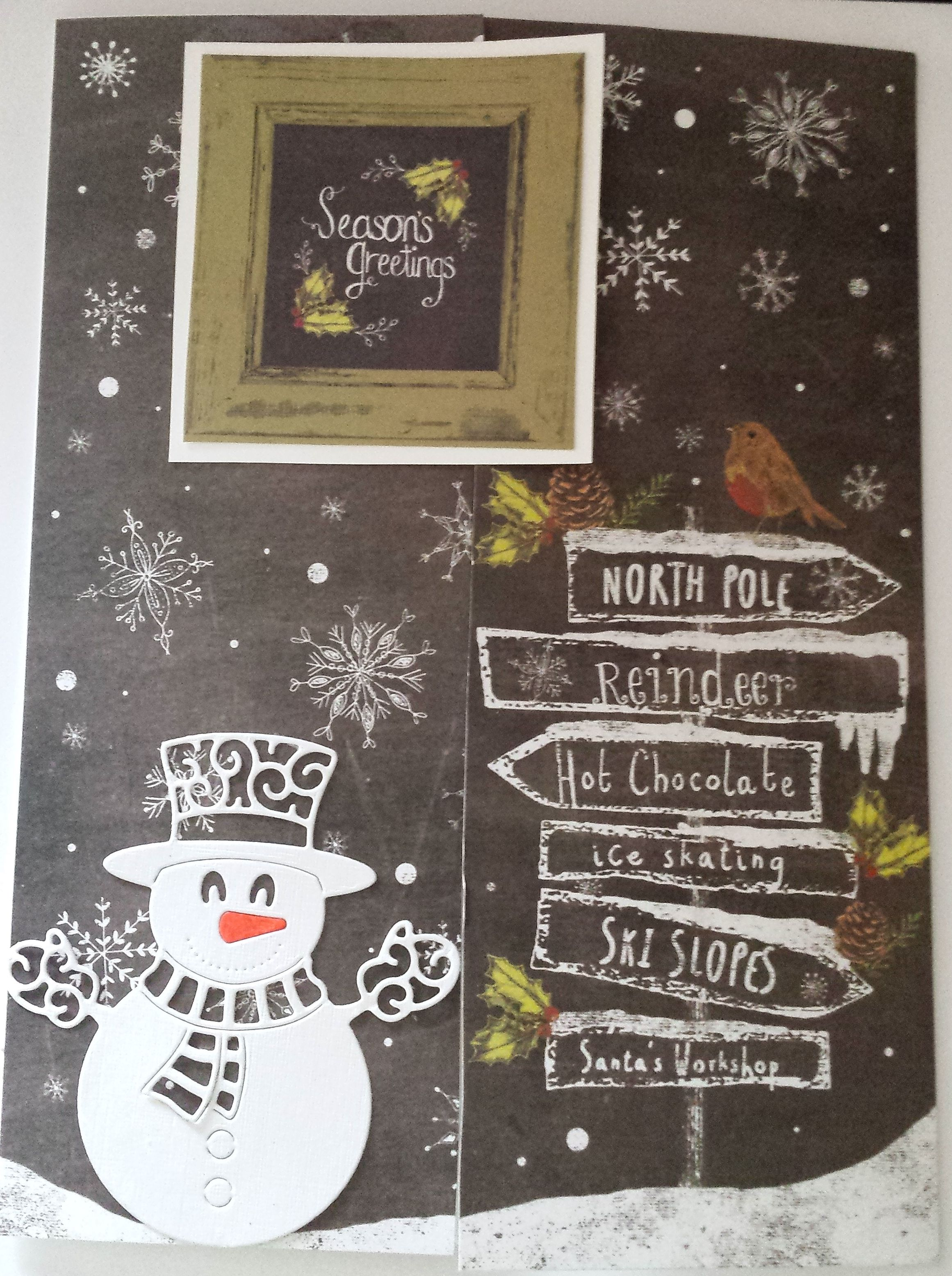 Snowman Seasons Greetings A5 gatefold card designed using