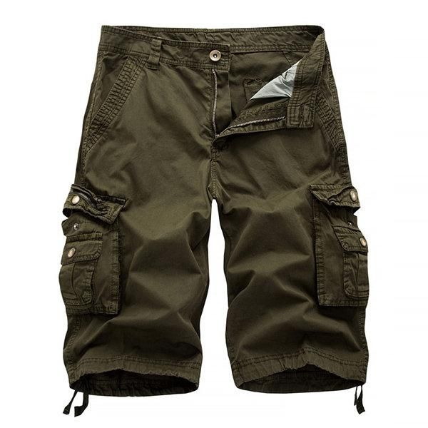 25802ca9d4 Mens Summer Multi-pocket Solid Color Cargo Pants Casual Cotton Beach Shorts  #PantsShorts #Shorts