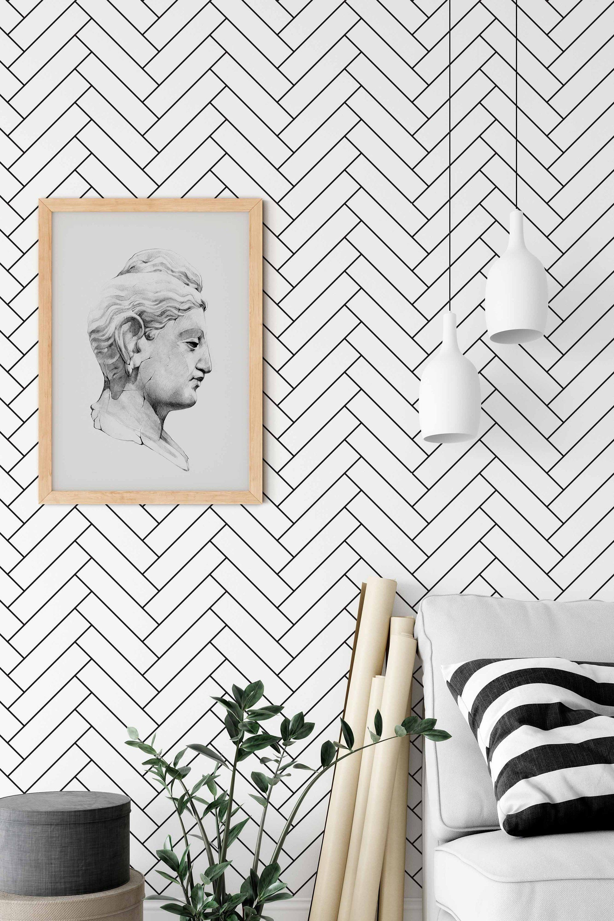 Removable Wallpaper With Herringbone Pattern Black And White Pints Wall Decal Minimalist Herringbone Wallpaper Monochrome Wall Sticker Removable Wallpaper Monochrome Wall Herringbone Wallpaper